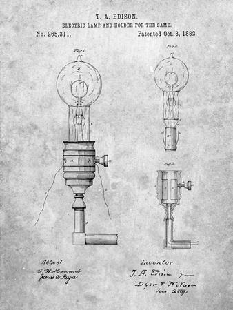 T. A. Edison Light Bulb and Holder Patent Art