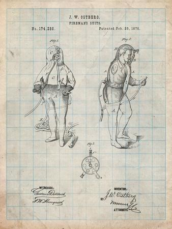 Firefighter Suit 1876 Patent Print