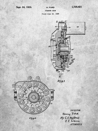 Ford Car Starter Gear 1928 Patent
