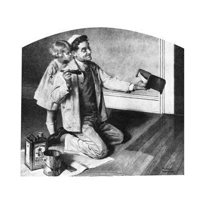 Man Varnishing Doll's Bed for Little Girl