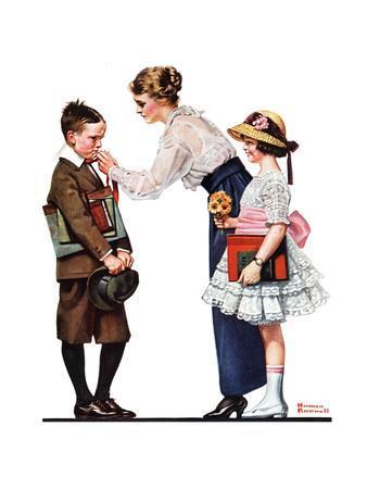 Mother Sending Children Off to School