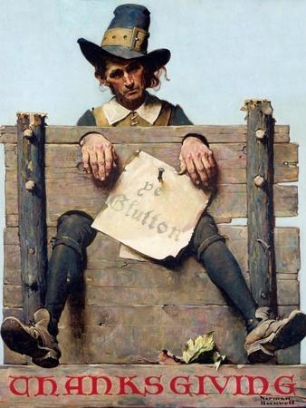 Thanksgiving-Ye Glutton (or Pilgrim in Stockade)