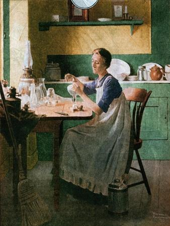 Fixing the lamp (or Woman in Kitchen)