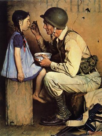 The American Way (or Soldier Feeding Girl)