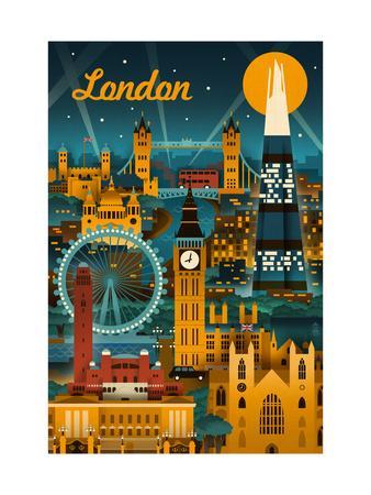 London, England - Retro Skyline