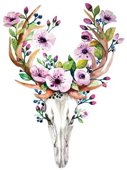 Deer Skull With Flowers Watercolor Prints By Kris Art At