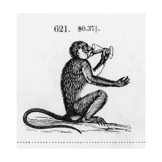 998625cdc Stylized Monkey Drinking from Chalice Illustration Prints at AllPosters.com