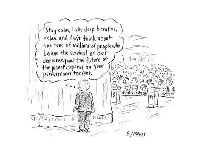 """Stay calm, take deep breaths, relax."" - Cartoon"