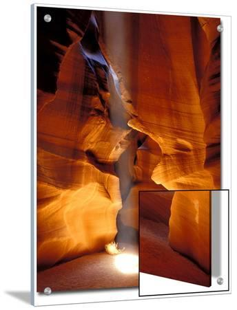 Sun Shining Beam of Light onto Canyon Floor, Slot Canyon, Upper Antelope Canyon, Page, Arizona, USA