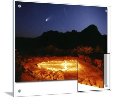 Medicine Wheel with Night Sky, and Hale-Bopp Comet, Sedona, Arizona, USA