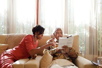 First Lady Michelle Obama Meets with Former President Nelson Mandela of South Africa