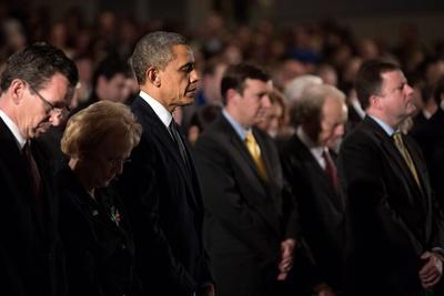 President Obama Attends a Sandy Hook Interfaith Vigil at Newtown High School in Newtown, Conn