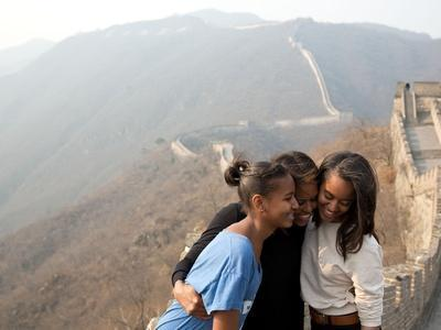 First Lady Michelle Obama and Daughters Sasha and Malia on the Great Wall of China