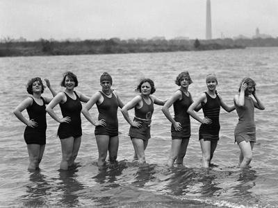 Seven Young Women in Bathing Suits in the Potomac River at Arlington Beach, April 29, 1925