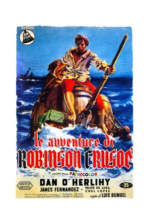 The Adventures of Robinson Crusoe, (AKA Le Avventure Di Robinson Crusoe), Italian Poster Art, 1954