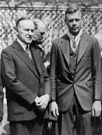 President Calvin Coolidge with Medal of Honor Recipient, Charles Lindbergh