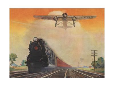 Steam Powered Locomotive and Ford Tri-Motor Airplane Speeding Through in Rural Landscape