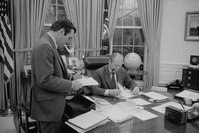 President Gerald Ford Meeting with His Chief of Staff, Donald Rumsfeld. Feb. 6, 1975