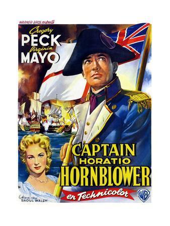 Captain Horatio Hornblower, from Left: Virginia Mayo, Gregory Peck, (Belgian Poster Art), 1951