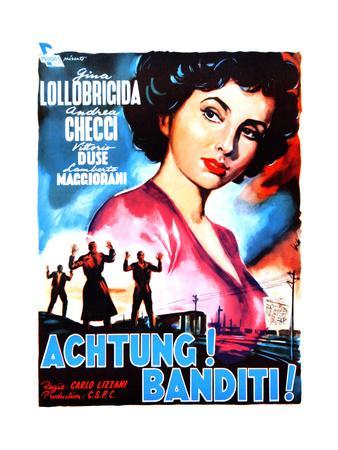 Attention! Bandits!, (AKA Achtung! Banditi!), Italian Poster Art, 1951