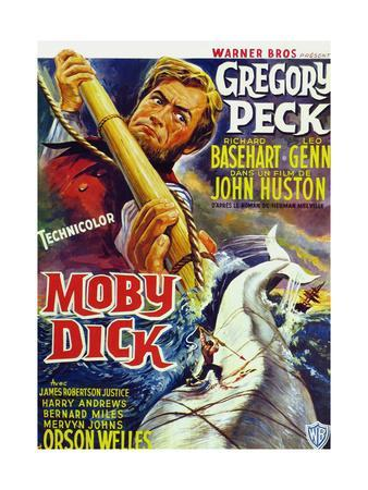 Moby Dick, Gregory Peck on French Poster Art, 1956