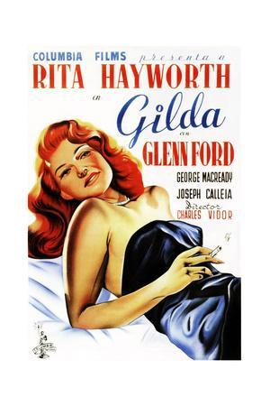 Gilda, Rita Hayworth, Spanish Poster Art, 1946