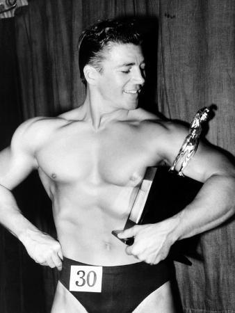 Mickey Hargitay, Who Has Just Won the Amateur Mr. Universe Contest in London, 1955