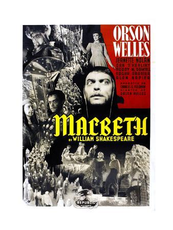 Macbeth, Jeanette Nolan, Orson Welles, Italian Poster Art, 1948