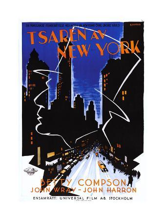 Czar of Broadway, (aka Tsaren Av New York), Swedish Poster Art, 1930