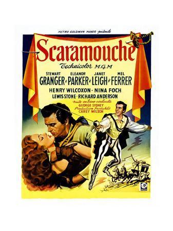 Scaramouche, Eleanor Parker, Stewart Granger, (Belgian Poster Art), 1952