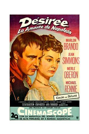 Desiree, Marlon Brando as Napoleon, Jean Simmons, (Spanish Poster Art), 1954