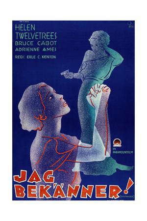 Disgraced!, (aka Jag Bekanner!), Swedish Poster Art, 1933