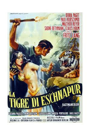The Tiger of Eschnapur, (AKA Der Tiger Von Eschnapur), Italian Poster Art, 1959