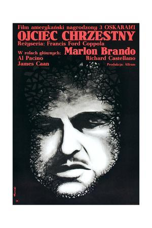 The Godfather (AKA Ojciec Chrzestny), Marlon Brando on Polish Poster Art, 1972