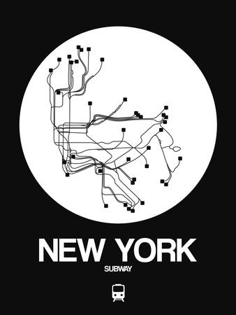 New York White Subway Map