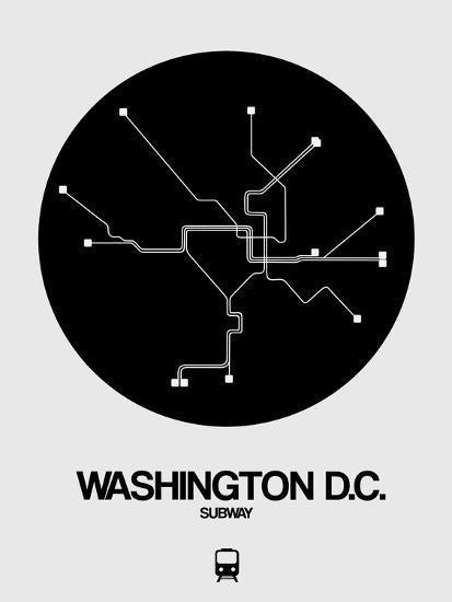 Washington D C Black Subway Map Art By Naxart At Allposters Com