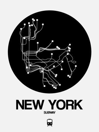 New York Black Subway Map