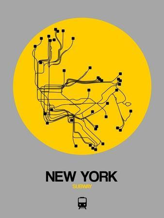 New York Subway Map Art.New York Yellow Subway Map Poster By Naxart At Allposters Com