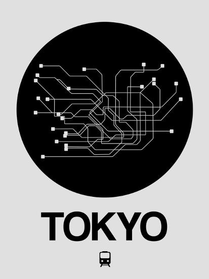 Tokyo Subway Map Framed.Tokyo Black Subway Map