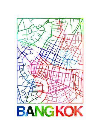 Bangkok Watercolor Street Map