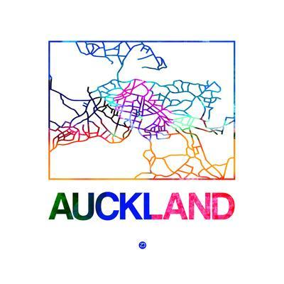 Auckland Watercolor Street Map