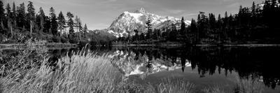 Reflection of Mountains in a Lake, Mt Shuksan, Picture Lake, North Cascades National Park