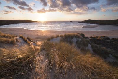 Ribbed Sand and Sand Dunes at Sunset, Crantock Beach, Crantock, Near Newquay, Cornwall