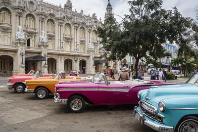 Vintage American Cars Parking Outside the Gran Teatro (Grand Theater), Havana, Cuba