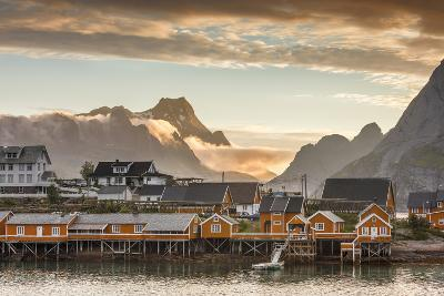 Sunset on the Fishing Village Framed by Rocky Peaks and Sea, Sakrisoya, Nordland County