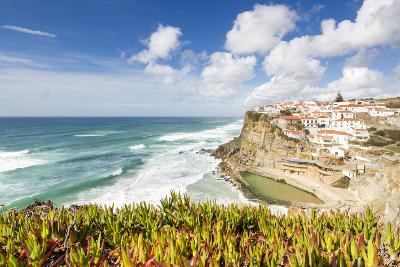 Top View of Perched Village of Azenhas Do Mar Surrounded by Atlantic Ocean and Green Vegetation