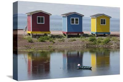 Colourfully Painted Huts by Shore of Atlantic Ocean at Heart's Delight-Islington in Newfoundland