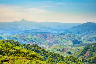 Rolling Hills and Mountains, Lush Rural Landscape, Vientiane Province, Laos, Indochina