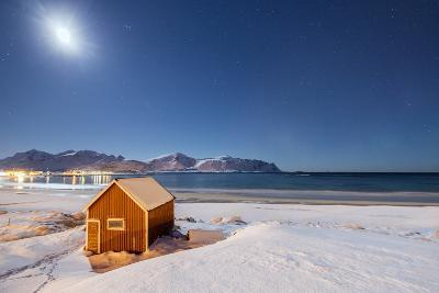 Moonlight on a Typical Fishermen Cabin Surrounded by Snow, Ramberg, Flakstad