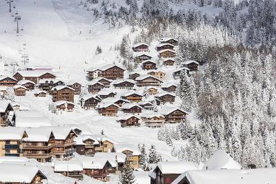 Snowy Woods Frame the Typical Alpine Village and Ski Resort, Bettmeralp, District of Raron